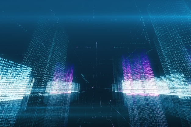 Volo dell'estratto dell'illustrazione 3d in una città digitale virtuale in uno spazio di codice binario