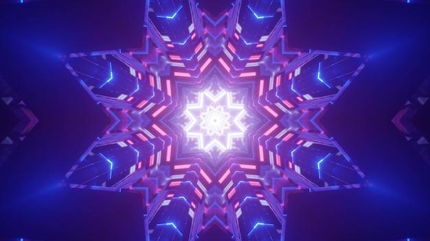 Fondo geometrico astratto dell'illustrazione 3d con cristalli colorati al neon incandescente e figure a forma di stella per la decorazione del partito notturno