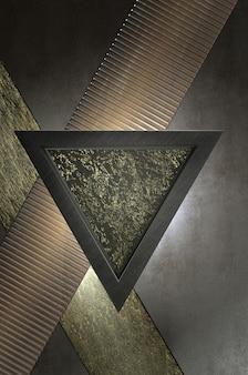 Illustrazione 3d. direzione astratta della freccia in oro, argento e nero su uno spazio vuoto nero per il logo del testo, concetto di superficie futuristica di lusso moderno e brochure