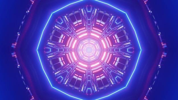 Illustrazione 3d di ornamento al neon ottagono astratto incandescente e formando un tunnel blu brillante