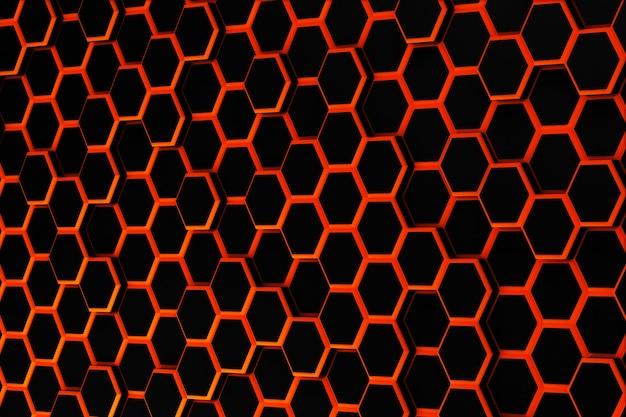 Illustrazione 3d rosso astratto del modello esagonale di superficie futuristica con sfondo esagonale di tinta rossa di raggi di luce