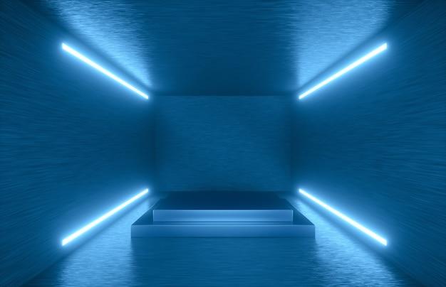 Illustrazione 3d. interiore della stanza astratta con luci al neon sulle pareti laterali. futuristico e fantascientifico