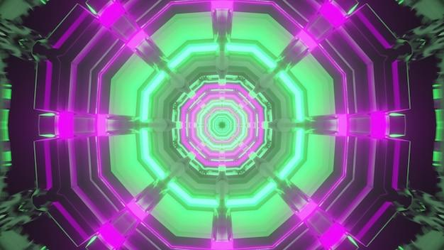 3d illustrazione astratto sfondo visivo del passaggio ottagonale con linee al neon verde e viola all'interno di un edificio futuristico