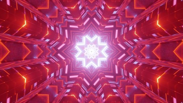 Sfondo geometrico vivido astratto illustrazione 3d con illusione ottica creando tunnel futuristico con foro a forma di stella al neon incandescente e illuminazione rossa