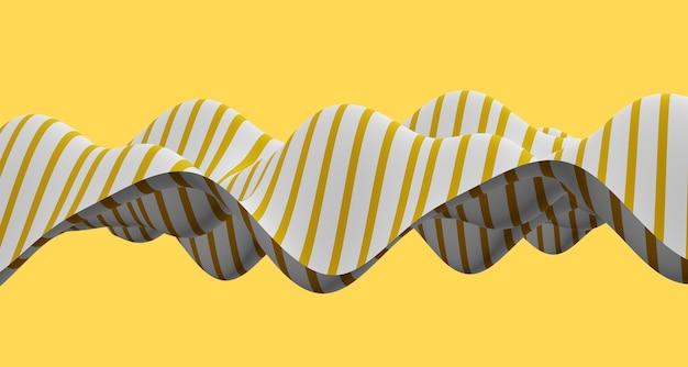 Illustrazione 3d onda astratta di curva in bianco e nero e vari modelli di superficie illusione. illustrazione di illusione. sfondo futuristico della bandiera della banda della curva dinamica della linea d'onda