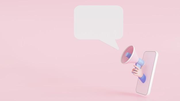 L'illustrazione 3d annuncia il megafono della tenuta della mano del fumetto del segno dell'insegna di notifica che esce dal telefono cellulare su fondo rosa con lo spazio della copia