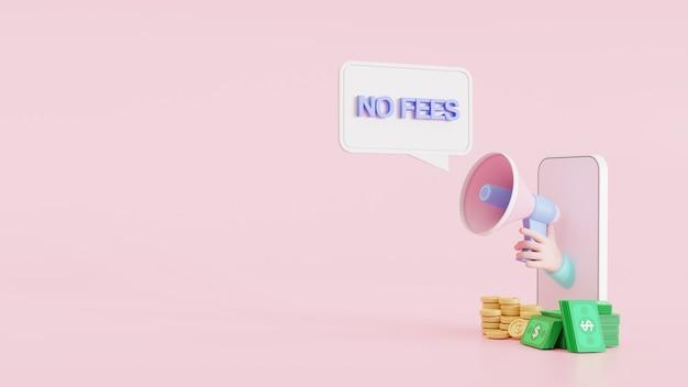 L'illustrazione 3d annuncia il megafono della tenuta della mano del fumetto del segno dell'insegna di notifica che esce dal telefono cellulare senza il fumetto di tasse nascoste. altoparlante. banner per affari, marketing