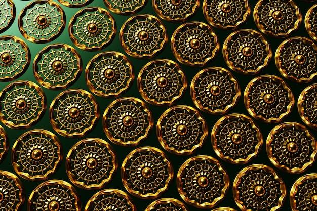 Fondo arabo del modello dell'illustrazione 3d. disegno arabo di ornamento circolare in rame per ramadan kareem. particolare variopinto ornamentale islamico del mosaico.