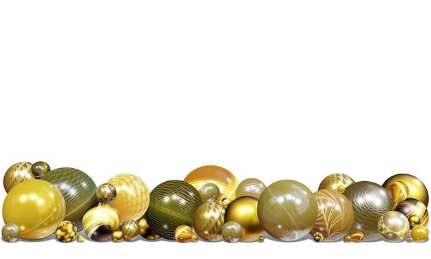 Sfondo di illustrazione 3d sfere lucide e motivi di astrazione, elementi di palline volanti, decorati con motivi di colori oro e glitter 3d per disegni e striscioni