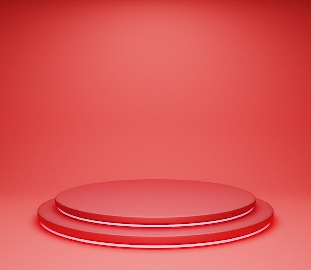 Fase di sfondo dell'illustrazione 3d semplice studio astratto rosso lucido minimalista