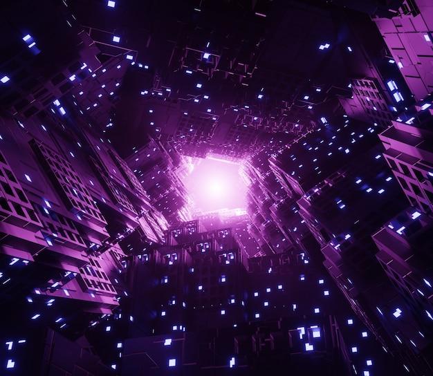 3d illustrazione sfondo sfondo scatola futuristica bagliore di luce
