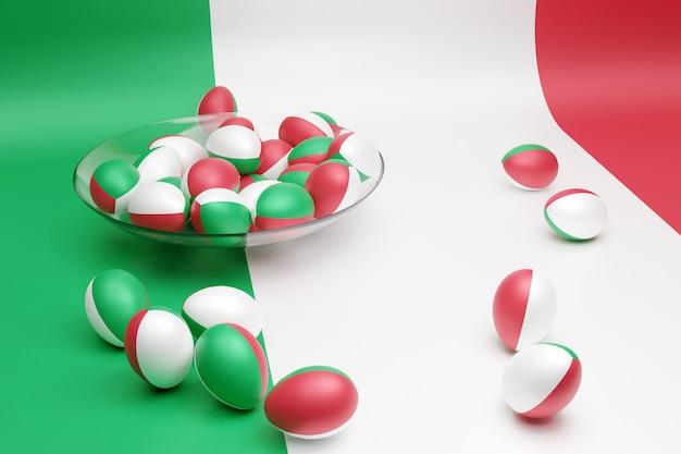Illustrazione 3d di palline con l'immagine della bandiera nazionale dell'italia