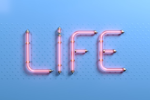Illustrazione 3d. banner pop art parola vita rosa neon.