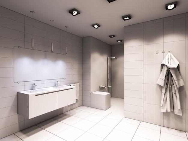 Illustrazione 3d del bagno senza colore e strutture