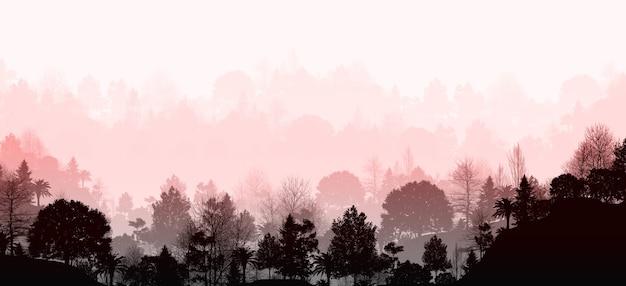 Illustrazione 3d di splendide viste panoramiche sulle montagne e sugli alberi ha una fase di profondo risveglio degli occhi montagne nella nebbia con paesaggio di montagna della foresta