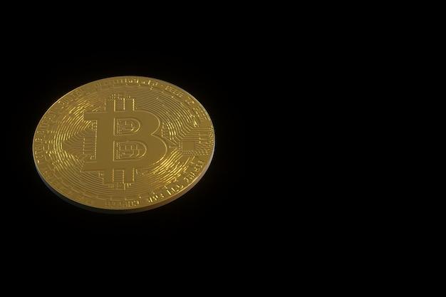 Illustrazione 3d di una moneta d'oro bitcoin su uno sfondo scuro isolato cryptocurrency bitcoin