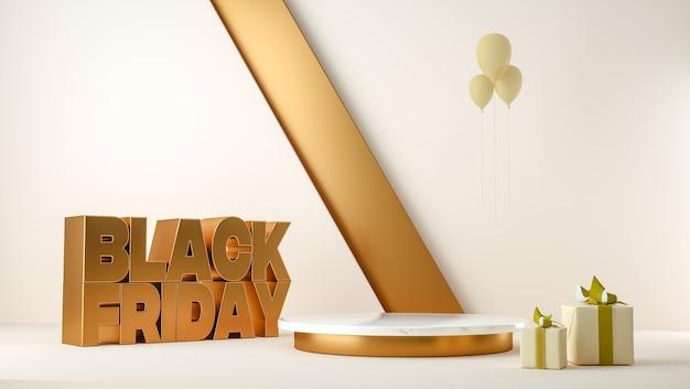 Illustrazione 3d. sfondo banner vendita venerdì nero con podio, scatola regalo e palloncini
