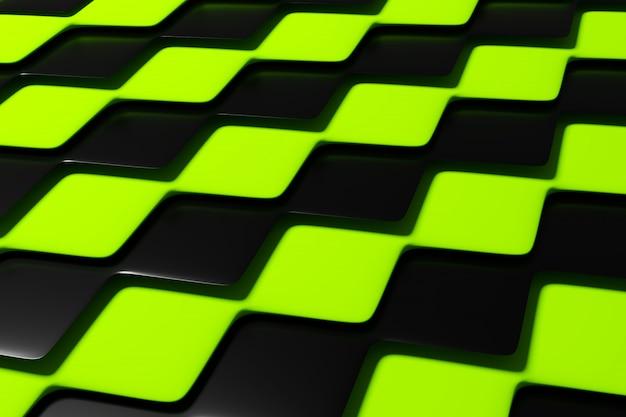 Illustrazione 3d motivo geometrico a scacchi nero e verde delle piramidi. scacchiera insolita. stampa decorativa, motivo.