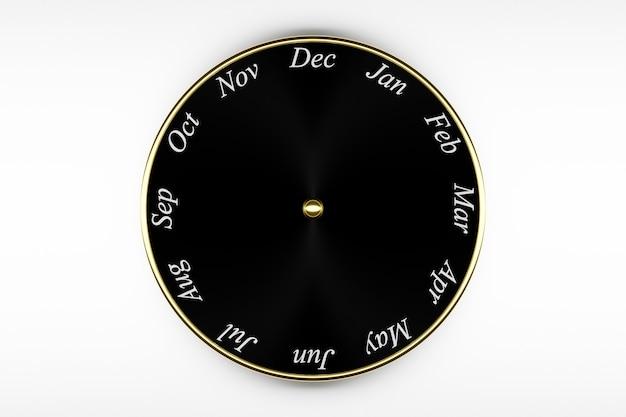 Calendario orologio rotondo nero illustrazione 3d con 12 mesi su priorità bassa bianca.