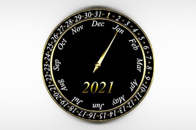 Calendario dell'orologio rotondo nero dell'illustrazione 3d