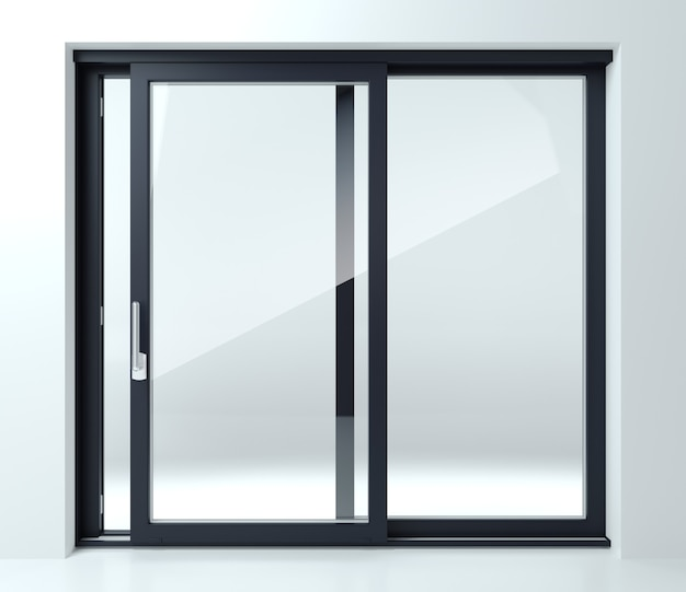 Illustrazione 3d. porta scorrevole nera in negozio o in vetrina. sfondo per banner. pubblicità. moderne tecnologie di costruzione Foto Premium