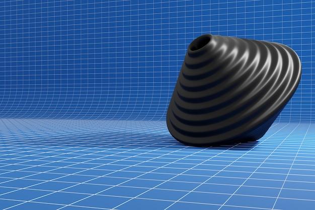 3d illustrazione di una trottola giocattolo nero su sfondo blu