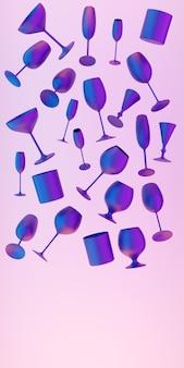 Illustrazione 3d nero con bicchieri al neon per champagne, whisky, cognac, martini, piccoli bicchieri levitano su sfondo rosa isolato