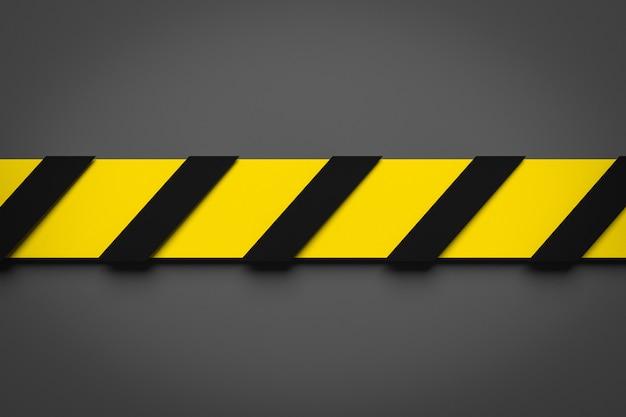 Illustrazione 3d di una banda nera e gialla nel mezzo su un fondo grigio. nastri di avvertimento raffiguranti segnali di pericolo e una chiamata per stare lontano. nastro barriera. concetto di nessuna voce.