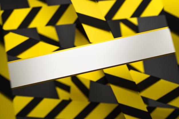 Illustrazione 3d delle bande nere e gialle nel mezzo su un fondo grigio. nastri di avvertimento raffiguranti segnali di pericolo e una chiamata per stare lontano. nastro barriera. concetto di nessuna voce.