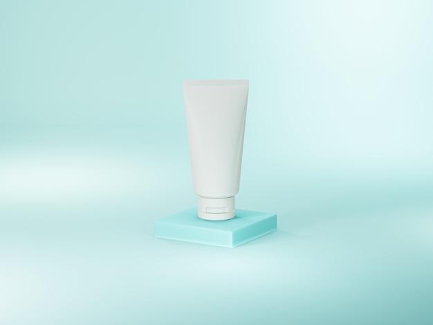 Illustrazione 3d progettazione in bianco del tubo bianco su fondo blu-chiaro morbido.
