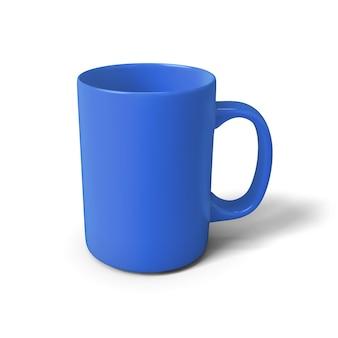 Tazza blu dell'illustrazione 3d isolata su bianco.