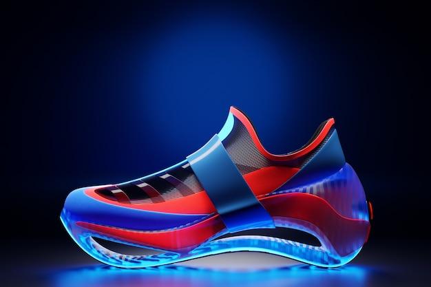 Illustrazione 3d nuove scarpe da ginnastica sportive blu e rosse su un'enorme suola in schiuma sotto il colore al neon, scarpe da ginnastica in uno stile brutto. scarpe da ginnastica alla moda.
