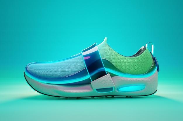 Illustrazione 3d di scarpe da ginnastica bluegreen con suole in schiuma e chiusura sotto il colore al neon su un blu b