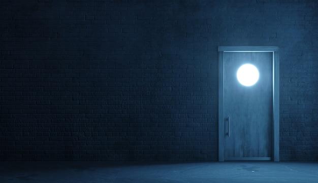 Illustrazione 3d. muro di mattoni di una facciata di strada di notte. ingresso in camera. vecchia porta sporca. lampada. sfondo banner carta da parati