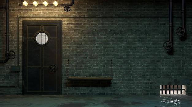 Illustrazione 3d. muro di mattoni di una facciata di strada di notte. ingresso in camera. vecchia porta sporca. lampada.