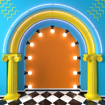3d illustrazione luminoso arco podio memphis stile pop art