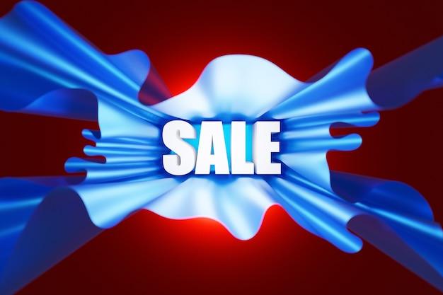 3d illustrazione brillante iscrizione vendita in bella carta blu volumetrica su sfondo rosso isolato