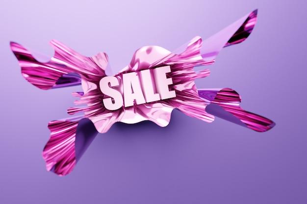 Vendita di iscrizione brillante illustrazione 3d in bella carta rosa volumetrica su sfondo rosa isolato