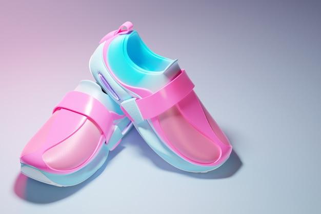 Illustrazione 3d sneakers massicce luminose con elementi di fissaggio nei toni del rosa e del blu a