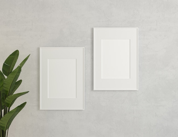 Illustrazione 3d. tela, mockup di cornici sul muro bianco.