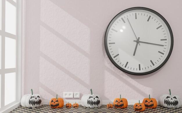 Illustrazione 3d. tela in una decorazione di halloween del salone. zucche bianche e arancioni. rendering 3d