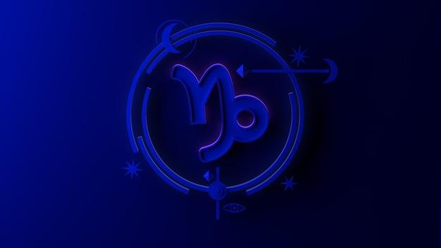 Illustrazione 3d del segno zodiacale capricorno su sfondo scuro. oroscopo. tarocchi.