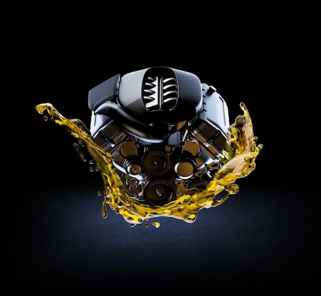 Illustrazione 3d del motore dell'auto con olio lubrificante sulla riparazione