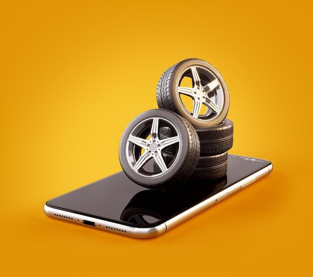 Illustrazione 3d di pneumatici per auto su uno schermo dello smartphone