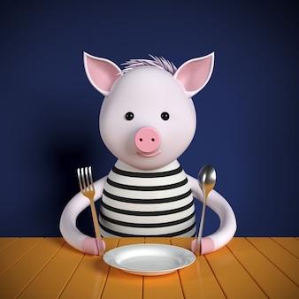 Illustrazione 3d. maiale del fumetto 3d che si siede al tavolo. aspettando il pranzo. mangiare