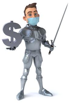 Illustrazione 3d di un personaggio dei cartoni animati con una maschera per prevenzione del coronavirus