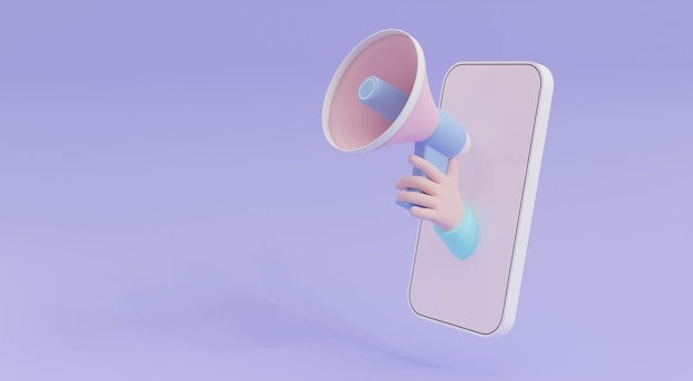Megafono della tenuta della mano del fumetto dell'illustrazione 3d che esce dal telefono cellulare su fondo porpora con lo spazio della copia