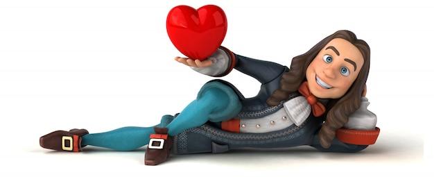 Illustrazione 3d di un uomo del fumetto in costume barocco storico con forma del cuore