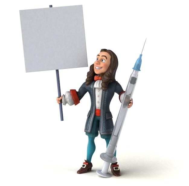 Illustrazione 3d di un uomo del fumetto in costume barocco storico