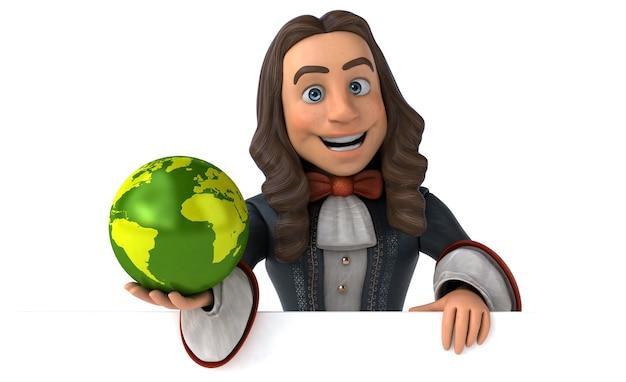 Illustrazione 3d di un uomo cartone animato in costume storico barocco